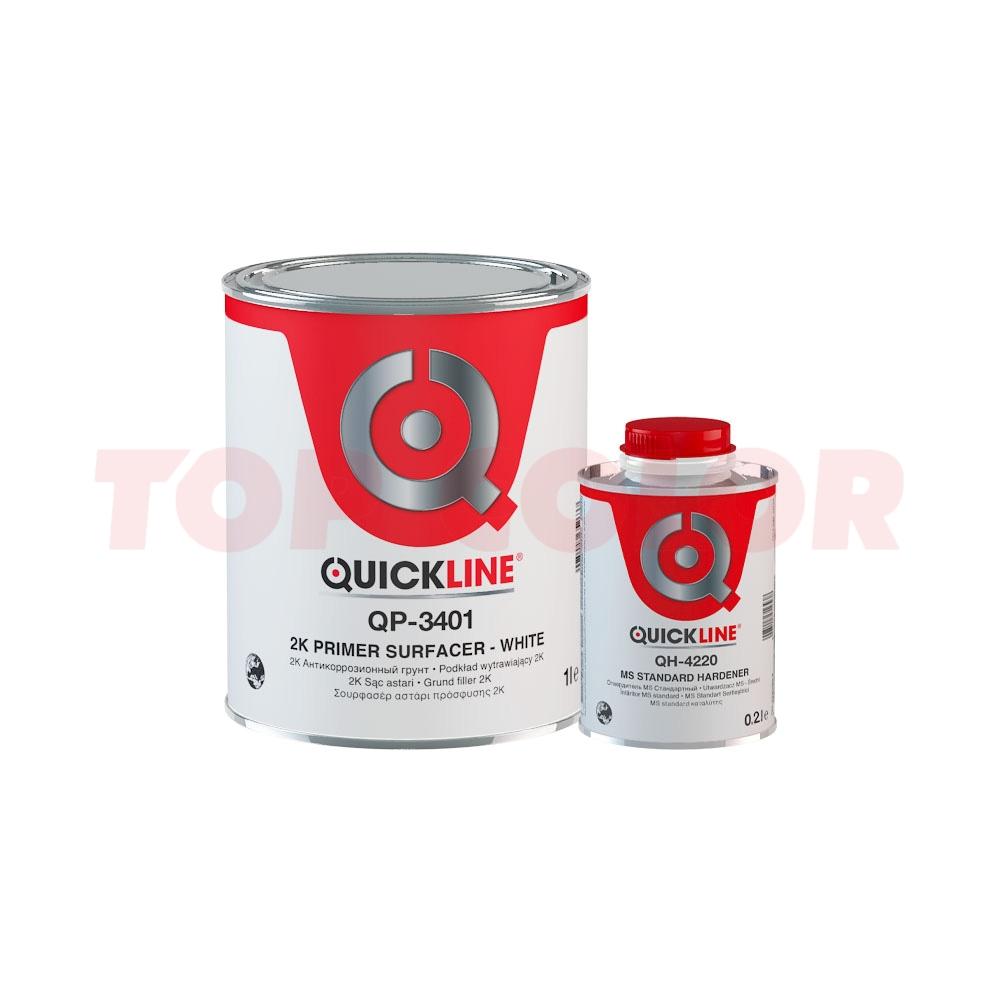 Грунт-наполнитель 5:1 QUICKLINE QP-3401 белый 1л + Отвердитель MS QH-4220 стандартный 0,2л