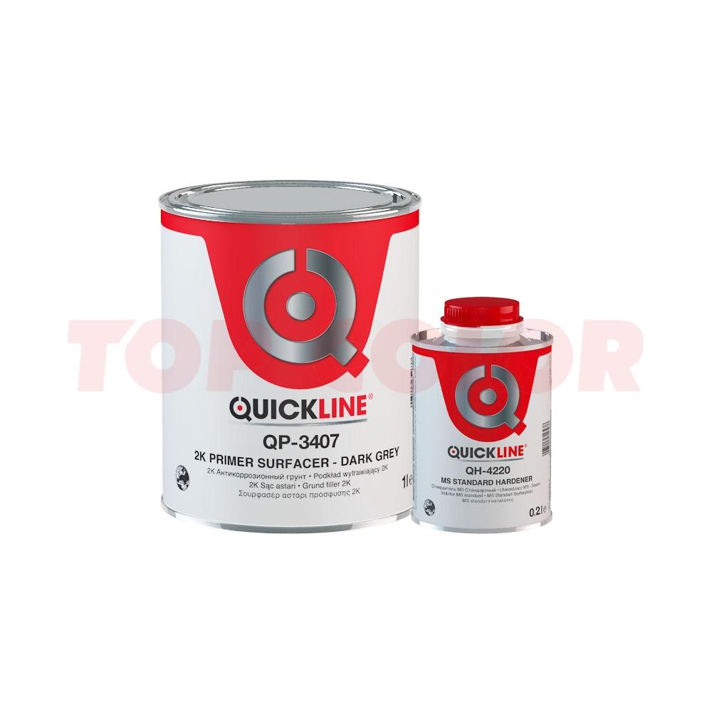 Грунт-наполнитель 5:1 QUICKLINE QP-3407 темно-серый 1л + Отвердитель MS QH-4220 стандартный 0,2л