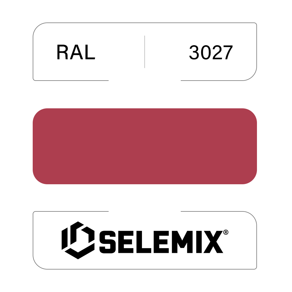 Эмаль синтетическая быстросохнущая SELEMIX 7-610 RAL 3027 Малиновый 1кг